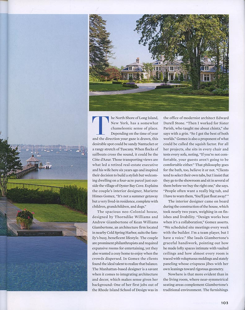 Gomez Associates featured on Architectural Digest, August 2012